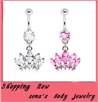 belly button rings sexy - fashion Belly Button Rings Crystal Silver Crystal Zircon Crown Stainless Steel Sexy Navel Body Piercing Jewelry