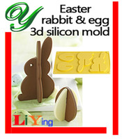 Wholesale Cookies Bunny - Chocolate mold silicone 3D standing Easter Egg bunny cookie mould Cake mold stand Bakeware 17cm cookie Maker Baking Fondant styling tools