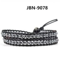 Wholesale 4mm beads bracelets New Trendy Multi Wraps with black gallstone Beaded Leather wrap bracelet for mens JBN