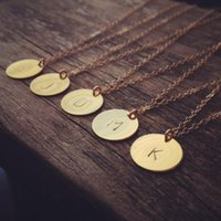 initial charms - 2015 Initial necklace personalized Discs Charm Custom Letter friendship Jewelry Gift Golden Round Plate