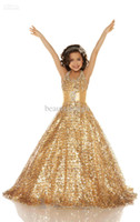 Wholesale 2015 New Sexy Gold Purple Halter Ball Gown Girl s Pageant Dresses Tulle Shiny Sequins Flower Girl s Dresses Kids Formal Wear Custom Made