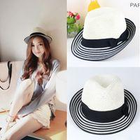 straw trilby hat - Fashion Women Straw Wide Brim Hat Summer Striped Bowknot Panama Trilby Cap Beach Sun Hats Chapeau de Paille Black Dark Blue