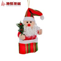 art hanging supplies - Christmas tree x10cm plush cloth art adornment Santa pendant g supplies natal snowflake crafts hanging party supplies