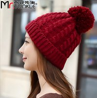 big cable ties - Big Pompom Hats Solid Color Women Caps Winter Knitted Skulies Beanies Acrylic Cable Thick Hats for Women