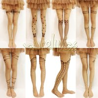 Wholesale Cute Trendy Sexy Mock Fake Tattoo Pattern Pantyhose Tights Stockings Nude