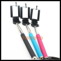 Wholesale Telescopic Handheld Monopod with clip self portrait selfie handheld stick for Mobile Phone Sport Camera Photo Equipment
