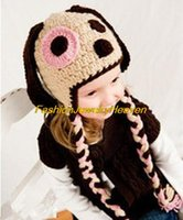 baby puppy photos - Baby Girls Boy Newborn M Knit Crochet Photo Prop Pink Eye Dog Puppy Hat Cap Outfit Parts Costume Free shpping