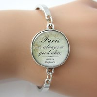 audrey bracelet - 1 pc Audrey Hepburn Paris quote pendant Paris bracelet charm Paris jewelry Paris jewellery alloy sex bangle