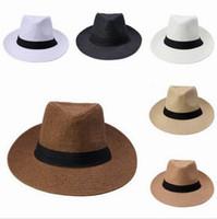 Wholesale Men s fashion loose summer beach hat large brim sun hat Jazz Sun Paper straw Panama Women Men cover black tape