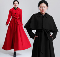 Wholesale Sexy New Fashion Plus Size Women Wool Coat Mantle Woolen Long Cloak Cape Coat Poncho Overcoat Winter Outwear With Belt Size S XL
