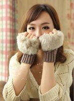 Wholesale Winter Faux Rabbit Fur Gloves Lady s Warm Touch Screen Computer Fingerless Gloves Wrist Half fingers Mittens