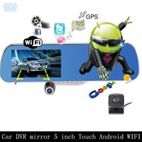 Wholesale 5 inch IPS Touch SCREEN GPS Android Car Camera Mirror Full HD P WIFI Car DVR Dual Camera Rearview video recorder GB RAM GB ROM