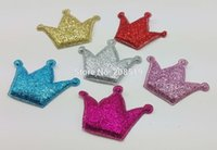 Wholesale PA0051 mm mm Padded Shiny Felt Crown Appliques for clips Mix colors Decorative Patches