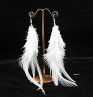 Wholesale 2014 New Fashion Charming Real Feather Earrings Cute Dangle Chandelier Earring For Women Wedding Jewelry Gift