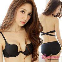 Wholesale Hot Women Girls Deep U Plunge Bra Halter Strap Low Cut Underwear Push Up Bra ABC