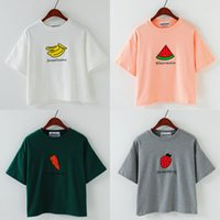 banana english - the new simple short sleeved round neck hedging sanding material Fruit Series Strawberry Banana embroidery English letters T shirt