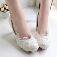 ballet height - White Lace Wedding Shoes Kitten Heel Handmade Bridal Shoes Cheap Custom Made Heel Height Women Shoes for Wedding Bridesmaid Shoes