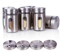 Wholesale 4 x8 CM Spice Jar Sugar Flour Salt Pepper Shaker Powder Storage Seasoning Glass Bottle