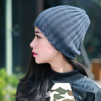 Wholesale New winter cotton hats for women Autumn and winter fashion trends in Europe and America wool warp dark grey acrylic woven knit hats hedging