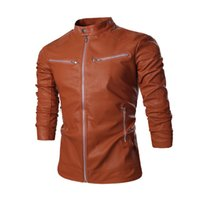 Cheap Free shipping hot new 2015 models with solid color zipper machine wagon Men casual leather jacket