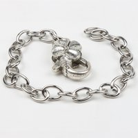 Stainless Steel chain stainless steel - MIC New Stainless Steel Chain Tibetan Silver Flower Lobster Clasps Charms Bracelets Chains quot quot quot