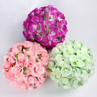 artificial flower ball - Wedding Decorative Flowers Yellow kissing ball cm Colorful Artificial Silk Roses Whole Display Flower For The Wedding Party