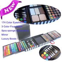 Cheap 177 color EyeShadow Palette Cheek Blush Lipgloss Make up makeup set EYE brush 2 pcs free shipping by DHL