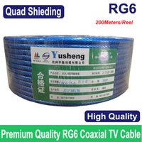 Wholesale Wholesales RG6 cable coax coaxial TV cable Quad Shielding M ft best quality Fast delivery