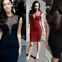Cheap Night Club Dresses With Deep V Neck Megan Fox Bandage Bodycon Dresses Low Cut Party Dress Backpack Hip Short With Tulle Illusion Dresses