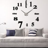 antique track lighting - DIY Large Watch Wall Clock Modern Design Stickers Mirror Effect Acrylic Glass Decal Home Decoration relogio de parede order lt no track