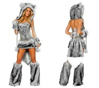Wholesale White wolf nightclub party night games uniforms DS costumes demon cat ladies dress women hairy wolf