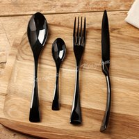 stainless steel spoon - 4 Set black western food dinnerware set top quality stainless steel Dinner knife and fork and spoon cutlery set