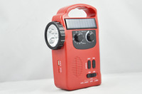 emergency radio - Crank Dynamo and solar multifunction portable FM AM radio with LED light emergency cell phone charger