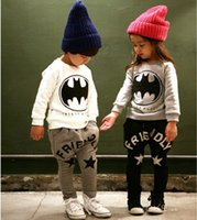 children clothing - 2 piece set Kids Autumn Clothes set children s clothes batman suit children cotton five star fleece sports suits