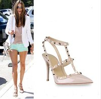 Wholesale 2015 HOT SALE Women High heels shoes Ladies Sexy Pointed Toe Fashion Buckle Studded Stiletto High Heels Sandals