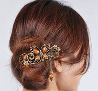 Wholesale The new Crystal Butterfly Hairpins Vintage Duckbill Clip hairpin Rhinestone Alloy Hair Jewelry Christmas Gift HX