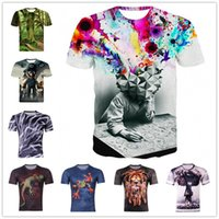 abstract factories - 2016 New Visual Creative Printing Unsex Abstract t Shirts For Men Women Casual d Mens t Shirts Fashion Mens Shirt Factory direct