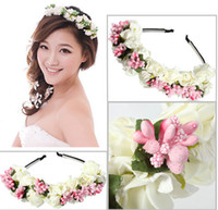 bc band - Beach Flora Hair band Flower Garland Floral Bridal wreath Headband Wedding Hairband Wedding Party Prom Festival Hairclips pc bc