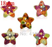 2-Holes Button None Flatback Free shipping - Mixed Star Shape fashion 2 Holes Wood Sewing Buttons Scrapbooking 18mmx17mm, sold per packet of 100 M00267