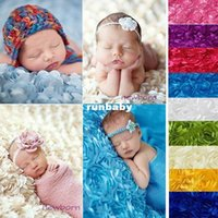 automobile photography - 3D Rose Fabric Blanket Swaddling Baby Newborn Photography Props Backdrops Floral Satin Rosette Fabric