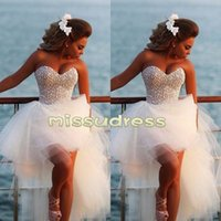 Wholesale Hot Sale Sweetheart Diamonds High Low Tulle Wedding Dresses Charming Pearls Beach Bridal Gowns short front long back Custom Made