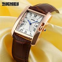 Wholesale 2015 Rectangle Square Women Elegant Retro Watches Fashion Luxury Quartz Watch Casual Leather Wristwatches Black Red Brown SKMEI