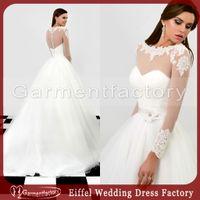 Cheap Princess White Wedding Ball Gowns Beteau Neckline Sheer Long Sleeved Illusion Back Ivory Tulle Arabic Fashion Wedding Dress