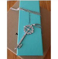 Pendant Necklaces Women's Fashion Min. order is $6(mix order ) The new arrived Clover Rhinestone Key long pendant fashion neckalce for women XL535
