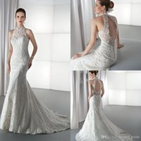 Cheap 2014 Demetrios 1450 Wedding Dress Mermaid White Lace Sweetheart Court Train Ruffles X Back Zipper Spaghetti Bridal Gown Dress