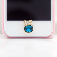 Wholesale 1pc Cute Crystal Little Rabbit Style Mobile Phone Stickers Home Button Sticker for Iphone Small Accessories for Women
