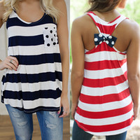 Wholesale 2015 Sexy Women Red Black American Flag Front Pocket Sleeveless Racerback Bow Tank Top stripe Vest with bow tie