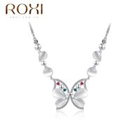 Wholesale ROXI gold ladies opal drop pendant crystal personalized necklaces for women fashion jewelry Christmas Gift a