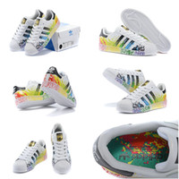 fabric painting - Drop Shipping Cheap Famous Originals Superstar LGBT Pride Pack Paint Splatter D70351Womens Mens Athletic Sports Running Shoes Size
