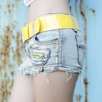 short dress with jeans - Quality Brand Women Slim Denim Shorts Ultra Short Bust Jeans MiniSkirt Jeans Skirt With Yellow Belts Short Pant Dresses XE0017